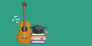 Illustrated guitar and stack of books with a scholarship cap on top