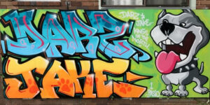 Graffiti mural attached to a house featuring a staffi and the names Darz and Jake